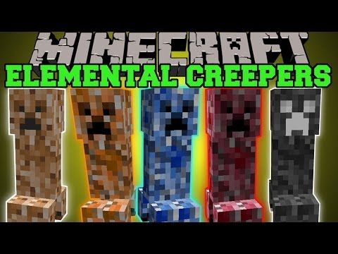 Minecraft: ELEMENTAL CREEPERS (EPIC CREEPER MOBS WITH COOL ABILITES!) Mod Showcase