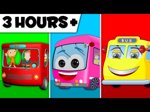 Wheels On The Bus | 3 Hours Compilation | Kids Rhymes