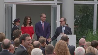 The UK's ambassador to Germany Sir Sebastian Wood was left a little red faced alongside William and Kate at the Queen's birthday party in Berlin....