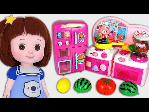 Baby Doli and vending machine refrigerator baby doll cooking kichen story