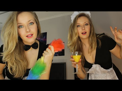 👭ASMR👸 TWO nice MAIDS will make your morning very special👸 (видео)