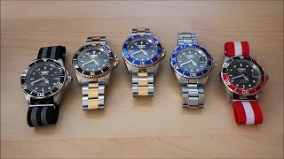 "Group review of these Invicta Pro Diver 40mm automatic watches, all featuring Seiko NH35A movements, ""oyster"" style bracelets, and homaging the ledendary Rolex Submariner.Like on Facebook: https://www.facebook.com/PerthWAtchYouTube/#invicta #divewatch #automaticwatchInvicta Pro Diver models featured (Seiko NH35A / 4R36 movement):8926 (black on black) - https://www.invictawatch.com/watches/detail/8926-invicta-pro-diver-men-40mm-stainless-steel-stainless-steel-black-dial-nh35a-automatic8927OB (black with gold dual tone, coin bezel) - https://www.invictawatch.com/watches/detail/8927ob-invicta-pro-diver-men-40mm-stainless-steel-gold-stainless-steel-black-dial-nh35a-automatic8928OB (blue with gold dual tone, coin bezel) - https://www.invictawatch.com/watches/detail/8928ob-invicta-pro-diver-men-40mm-stainless-steel-gold-stainless-steel-blue-dial-nh35a-automatic9094 (blue on blue) - https://www.invictawatch.com/watches/detail/9094-invicta-pro-diver-men-40mm-stainless-steel-stainless-steel-blue-dial-nh35a-automatic9403 (black with red/black bezel) - https://www.invictawatch.com/watches/detail/9403-invicta-pro-diver-men-40mm-stainless-steel-stainless-steel-black-dial-nh35a-automaticThe Sydney Strap Co. featured products:The Apollo NATO - https://www.thesydneystrapco.com/collections/stripes/products/the-apolloThe Terminator NATO - https://www.thesydneystrapco.com/collections/stripes/products/the-terminator-nato-strap===========Perth WAtch - Sharing my passion for horology and watches. Enjoy the videos on watch reviews, general thoughts & discussions, side-by-side comparisons, horology topics, and more!Watch Reviews Playlist: https://www.youtube.com/watch?v=h8DySE9bYGU&list=PL1qbhxREC4LQGhBi-ErvsxVz3Kc5P4FOxWatch Topics & Discussions: https://www.youtube.com/watch?v=u3IWov7lrrk&list=PL1qbhxREC4LT9JMopfMG2-wu6rFhsJCIuSubscribe: https://www.youtube.com/channel/UCjBOEG8LoZOV0qOO7TdlHlA?sub_confirmation=1===========Music:""Shiny Tech"" Kevin MacLeod (incompetech.com)Licensed under Creative Commons: By Attribution 3.0 Licensehttp://creativecommons.org/licenses/by/3.0/"