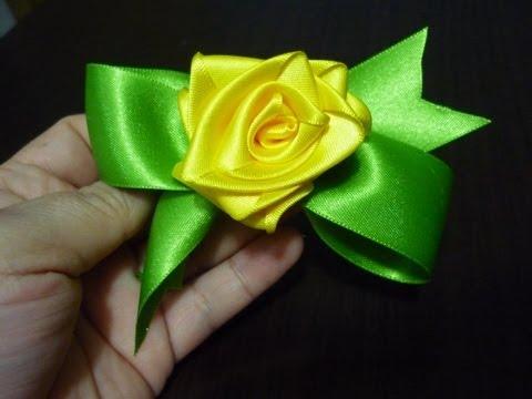 tutorial rosas o flores en cinta de raso para decorar accesorios para niñas No. 110
