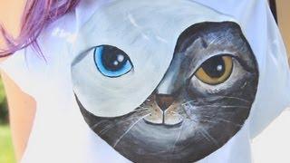 Kitty Yin Yang Shirt ♥ DIY - YouTube