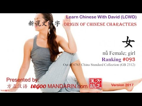 Origin of Chinese Characters - 0093 女 nǚ Female; girl - Learn Chinese with Flash Cards