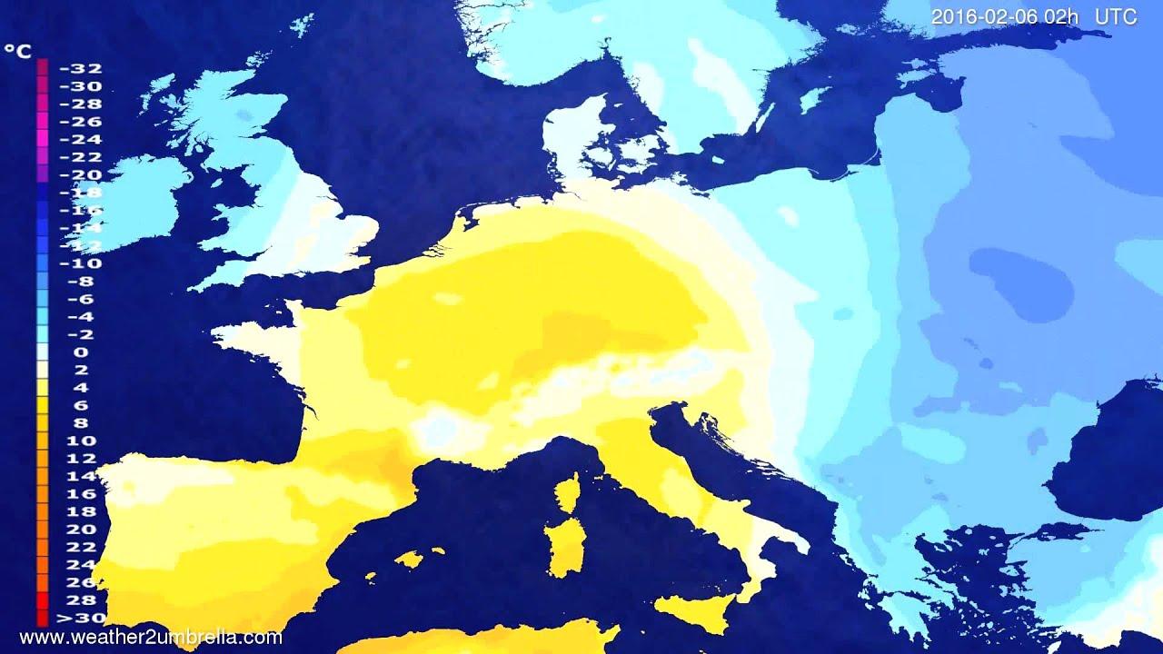 Temperature forecast Europe 2016-02-02