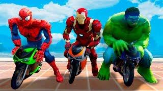 Video HULK PUSH Spiderman Into POOL! Funny Little Motorcycles Race w/ Iron Man. Superheroes for Kids MP3, 3GP, MP4, WEBM, AVI, FLV Oktober 2017