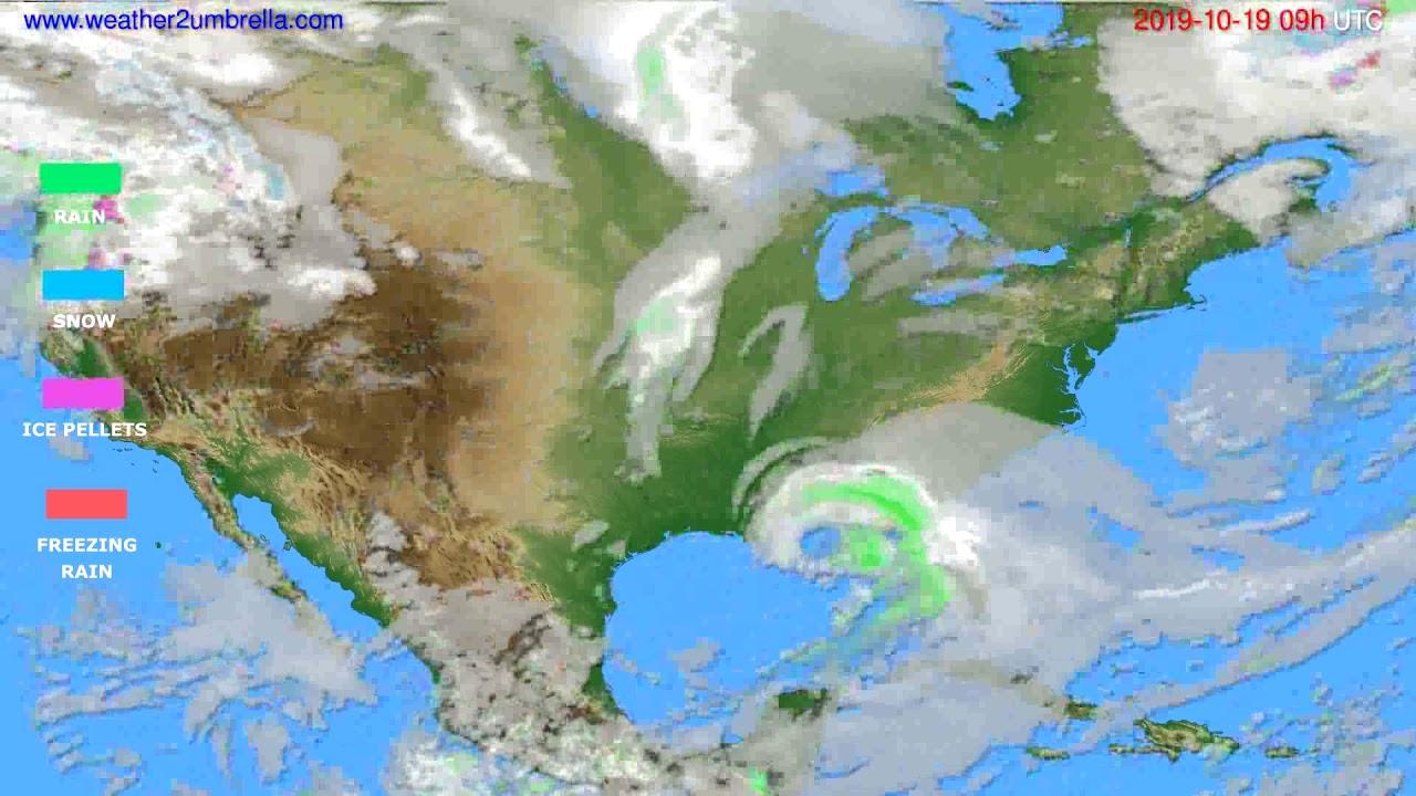Precipitation forecast USA & Canada // modelrun: 00h UTC 2019-10-18
