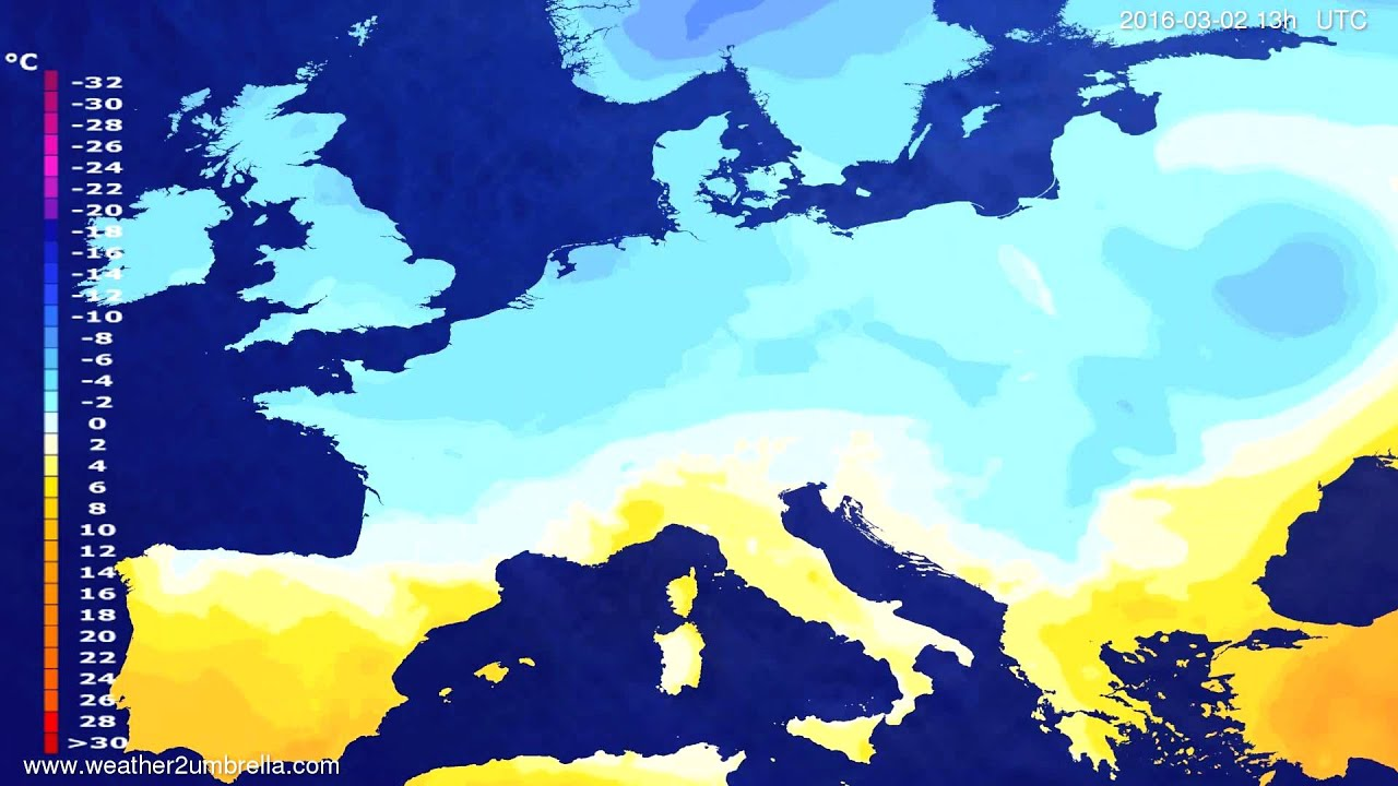 Temperature forecast Europe 2016-02-28