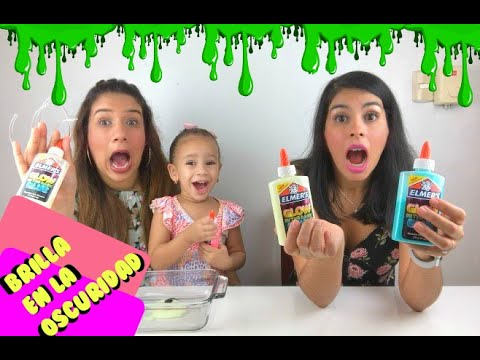 SLIME QUE BRILLA EN LA OSCURIDAD 🌛✨✨ | Elmer's Glue Glow In The Dark✨ Ft. Andy Hilario
