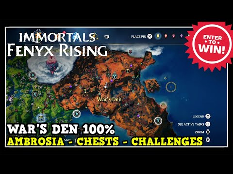 War's Den All Collectibles in Immortals Fenyx Rising (Ambrosia, Chests, Challenges)