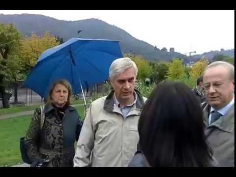 La visita della delegazione regionale al cantiere paratie di Como