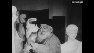 Auguste Rodin -- Filmed Sculpting in his Studio (1915)