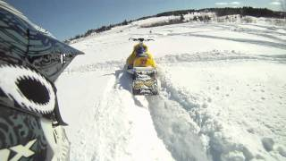 4. Ski Doo REV MXZ X-RS 800 Deep Powder Run & Crash