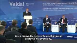 Vladimir Putin na zasedání mezinárodního diskusního klubu Valdaj 2014