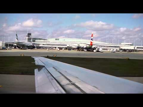 American Airlines - American Airlines MD80 taxi, takeoff and cruise from Chicago O'Hare heading for Orlando MCO. April 2013.