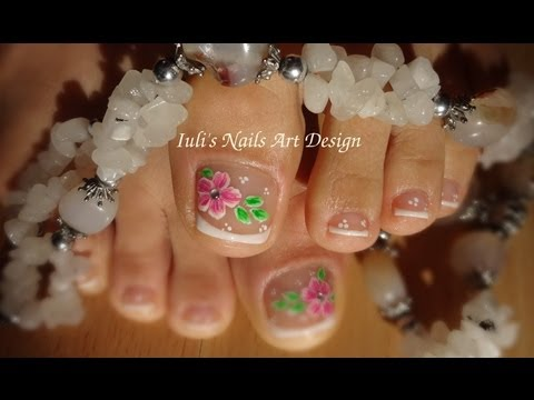 Toes art design French pedicure – Beautiful flower –  Summer 2013 live tutorial