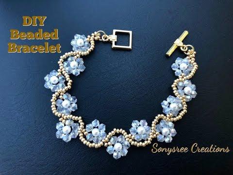 DIY Beaded Wedding Jewelry . How to make beaded bracelet.Bicone Bracelet