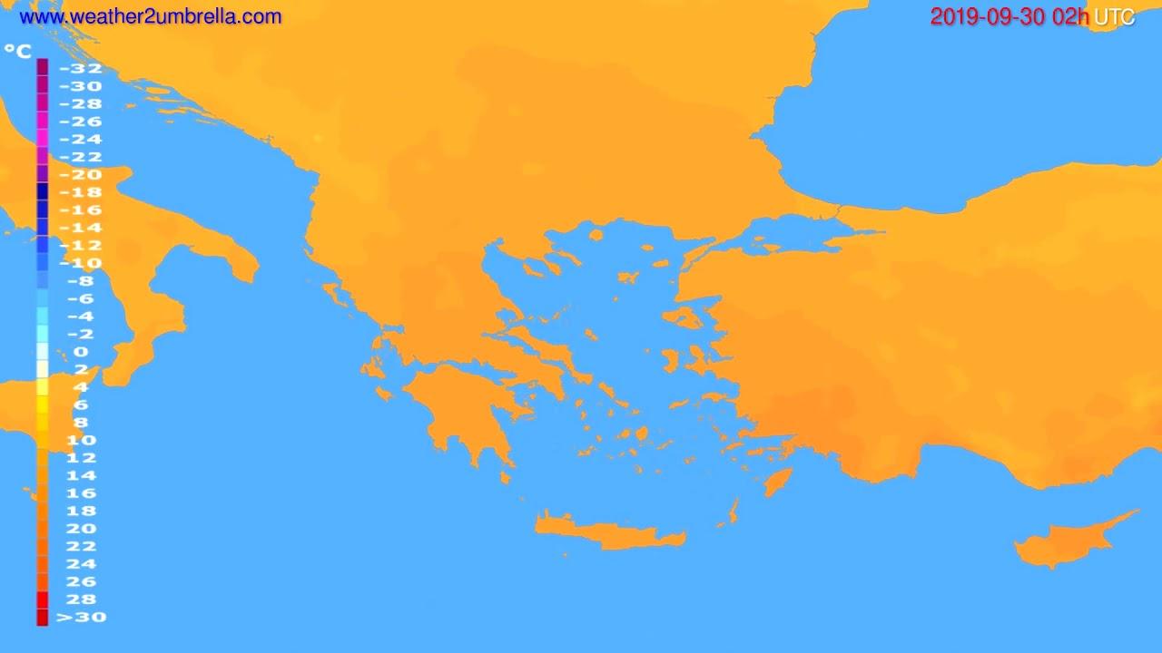 Temperature forecast Greece // modelrun: 00h UTC 2019-09-28