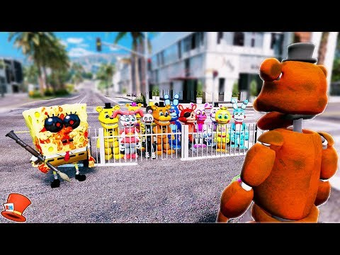 CAN WITHERED FREDDY SAVE FNAF WORLD FROM SPONGEBOB.EXE? (GTA 5 Mods For Kids FNAF RedHatter)