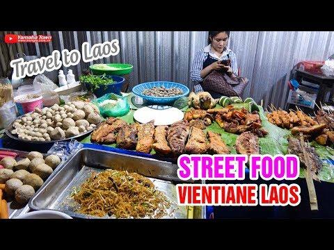 Ẩm thực đường phố và Món ăn ngon tại Vientiane Lào ▶ Dạo Chợ đêm!