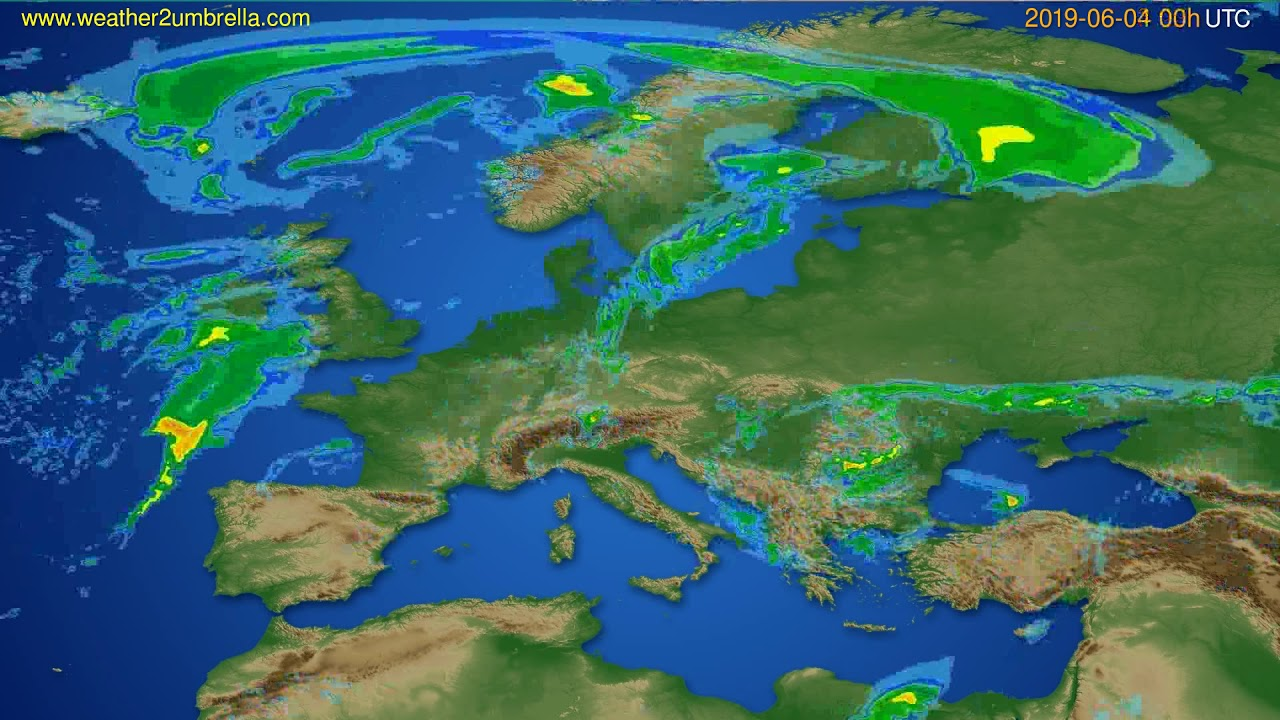 Radar forecast Europe // modelrun: 12h UTC 2019-06-03