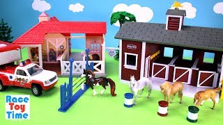 Hi kids, RaceToyTime here! Today, we are going to build and play with this Breyer Stable Barn for horses and also the Animal Rescue Playset. Please subscribe to RaceToyTime channel if you haven't already done so. Like, share, and comment on our video. And, as always, thanks for watching!Subscribe to racetoytime here - https://www.youtube.com/channel/UCVTQrl1dtafYX08IBb7EhrwWatch our other videos:  Learn Animal Toys Names │ Zoo Animals Elephant Lion Tiger Rhino for Kids - https://www.youtube.com/watch?v=KnsmONvQyeYLearning Sea Animals Toy Sharks Whales Dolphin - https://www.youtube.com/watch?v=9i88w4UqPnADinosaur Surprise Toys Game in the Claw Machine -  Learn Dinosaurs Names For Children - https://www.youtube.com/watch?v=H8AkVqFrxhoJurassic World Mini Dinosaurs Figures Blind Bag Exclusive Indominus Rex  - https://www.youtube.com/watch?v=_bgyS74lUR8Playmobil City Zoo Toy Wild Animals Building Set Build Review - https://www.youtube.com/watch?v=g5dbYcmUHZ8Playmobil City Life Large Zoo Toy Wild Animals Building Set Build Review - https://www.youtube.com/watch?v=IZXfiFPyW8EDinosaurs 3D Puzzles Animals Eggs Surprise Toys - Spinosaurus Ankylosaurus Pteranodon - https://www.youtube.com/watch?v=VJuukvLmpSgDinosaur Transforming Eggs Toys - Tyrannosaurus Rex Pterodactyl Velociraptor Triceratops - https://youtu.be/HT_CFeMP9GkToy Wild Animals 3D Puzzles Collection - Lion Panda Elephant Zebra Tortoise │ Animals for children - https://youtu.be/yabb98z1WC8Playmobil Toy Wild Zoo Animals Collection For Kids - Tiger Panda Koala Gorilla - https://youtu.be/L06I3WiWjNsPLAYMOBIL Country Farm Animals Pen and Hen House Building Set Build Review  - https://www.youtube.com/watch?v=dGplrNa-NZkPLAYMOBIL Toy Wild Zoo Animals Collection For Kids - Tiger Panda Koala Gorilla - https://youtu.be/L06I3WiWjNsPlaymobil Safari Wild Animals Buiding Toy Sets Collection For Kids - https://youtu.be/M27Txqwyc4cSea Animals Island Sandbox - Learn Wild Animal Names For Kids! - https://youtu.be/nZfA-mG0TU4Music: 