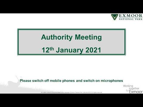 Exmoor NPA Authority meeting  12 01 2021