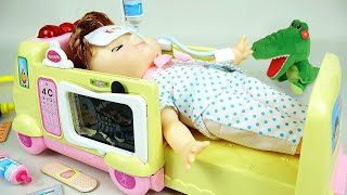 Ambulance baby doll and Doctor toys play