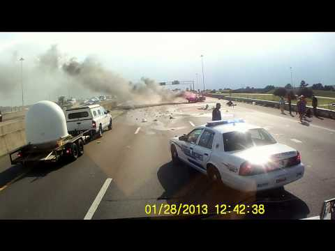 Truck driver pulls grandmother, baby from explosion after semi vs. car accident
