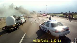 Car Crash Explosion, Hero Trucker Saves Grandmother And 1 Year Old Grand Daughter From The Flames