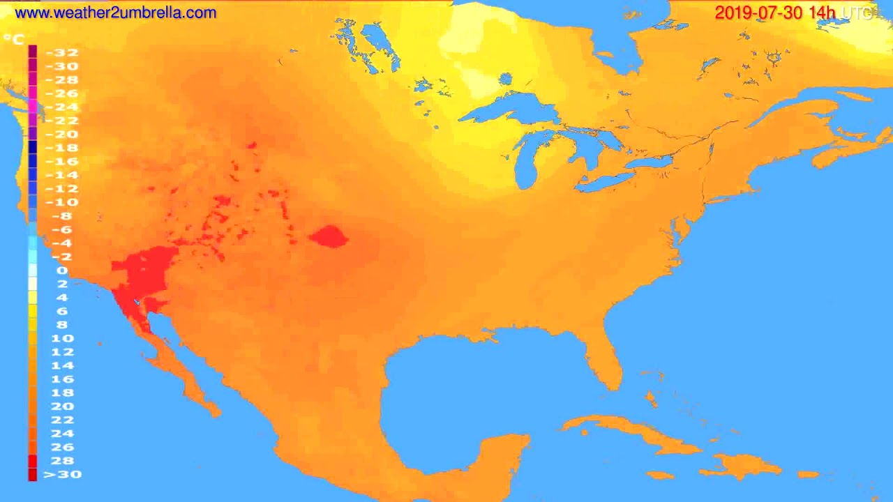 Temperature forecast USA & Canada // modelrun: 00h UTC 2019-07-28