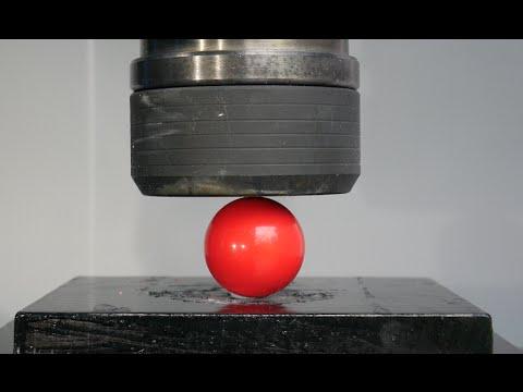 Crushing Billiard/ Snooker Balls with Hydraulic Press