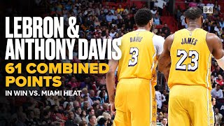 LeBron and Anthony Davis Combine For 61 Points in Win vs. Heat   Lakers NBA Highlights by Bleacher Report