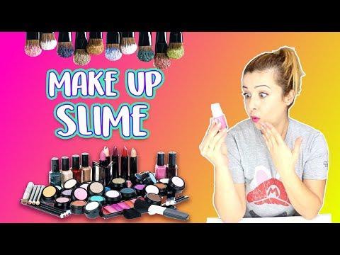 Slime con maquillaje  4 recetas de Make up slime !