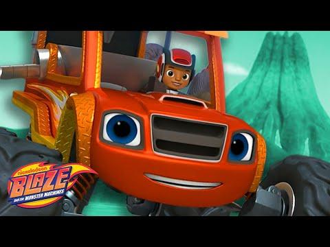 Blaze Stops the Volcano Eruption! | Blaze And The Monster Machine