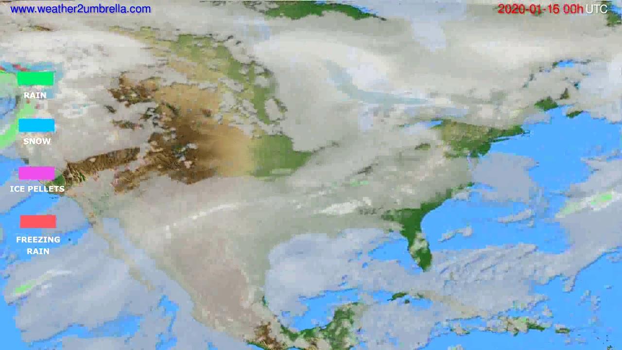 Precipitation forecast USA & Canada // modelrun: 00h UTC 2020-01-15