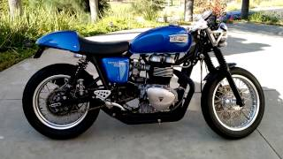 8. 2006 Triumph Thruxton with single sided D&D Racing Exhaust - Walk around and cold startup