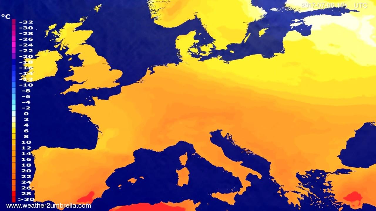 Temperature forecast Europe 2017-07-02
