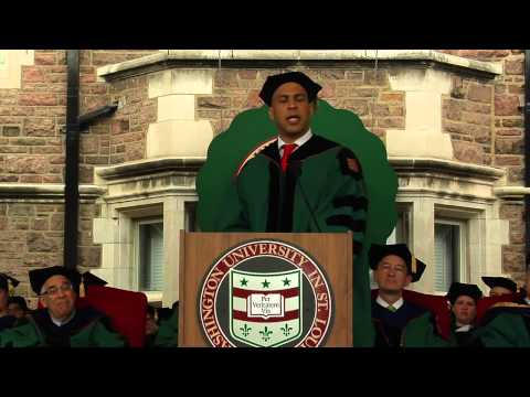 Booker - Mayor Cory Booker speaks to the graduates of Washington University in St. Louis during the 152nd Commencement on the Danforth campus.