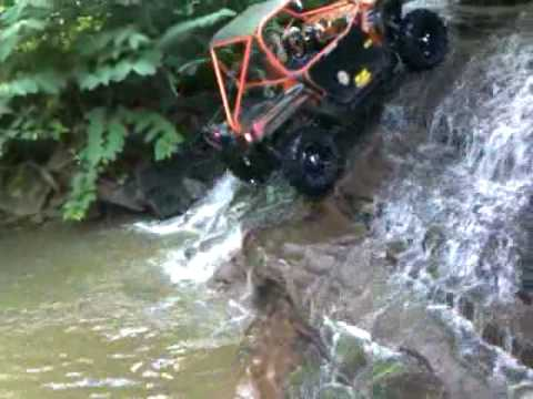 Taking my RZR up a waterfall