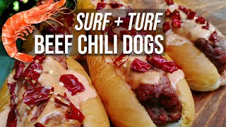 Reef n Beef Chili Dogs by BBQ Pit Boys