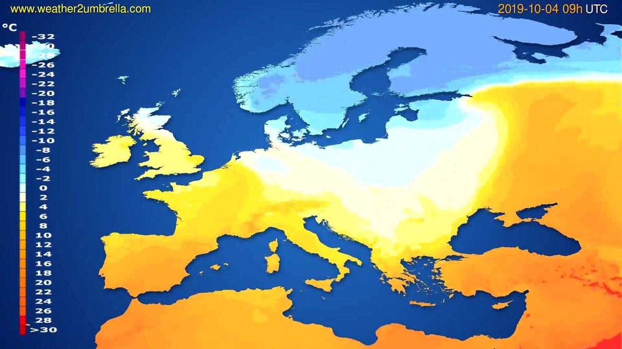 Temperature forecast Europe // modelrun: 00h UTC 2019-10-02