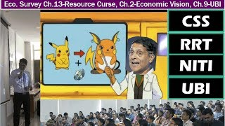 "- In this lecture, we'll study three chapters from Economic survey 2016-17 viz.- Ch.13: Ch.The ""Other Indias': Two Analytical Narratives (Redistributive and Natural Resources) on States' Development: why some of the Indian states are backward to this date, despite receiving large amount of money as plan assistance, tax devolution, grant in aid and despite having large mineral wealth?- Ch.2: The Economic Vision for Precocious, Cleavaged India: why USA grew rapidly under democracy and China grew under authoritarinism but India has not, despite following mixed economy model?- Ch. 9: Universal Basic Income: A Conversation With and Within the Mahatma. - Budget 2017 has allotted 2.7 lakh crores are subsidies, and majority of that will be spent on food, fuel and fertilizers. But Survey observes that not even 40% of the subsidies are the bottom strata of the society because of 1) inclusion error and 2) exclusion error.- Hence in Survey 2014-15, Arvind Subramanian recommended JAM trinity but next year he realized we can't do direct benefit transfer (DBT) everywhere due to low financial inclusion. So, in some cases such as Kerosene and Food subsidies, Biometrically authenticated Physical uptake (BAPU) is a better alternative than DBT. And simultenously, Government must reduce the subsidies that are being cornered by the affluent class such as PPF, IT exemption, ""gold subsidies"" et al.- In Survey 2016-17, it seems CEA has lost faith in this option as well, so now talking of giving universal basic income (UBI) to all people. His logic being  since Tendulkar Poverty line is measured by monthly Expenditure, so if we give people sufficient money to spend, then automatically they would come above the poverty line.- The only question remains is how much should we give 2,000 or 7,000 or 12,000 or some figure in between. Survey says UBI should have De jure universality, de facto quasi universality i.e. not all people should be given this money. So how to ensure this- survey gives four options 1) self-targeting 2) exit 3) gradualism 4) keeping the well-off people out by eliminating income tax payers and automobile owners from the list.- Faculty Name: You know who - All Powerpoint available at http://mrunal.org/powerpoint- Exam-Utility: UPSC IAS IPS Civil service exam, Prelims, CSAT, Mains, Staff selection SSC-CGL, IBPS-PO/MT, IBPS-CWE, SBI PO & Clerk, RBI and other banking exams; LIC, EPFO, FCI & other PSU exams; CDS, CAPF and other defense services exams; GPSC, MPPCS, RPSC & other State PCS services exams with Indian Economy, Budget, Banking, Public Finance in its syllabus- with descriptive questions and answer writing."