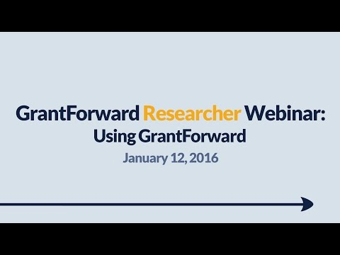 GrantForward Webinar held on January 12, 2016, for researchers and faculty at subscribing institutions. This webinar covers using GrantForward in general-- how to create accounts, search for grants, view grant and sponsor pages, use filters, manipulate results, create profiles, and receive grant recommendations. For more information about how to use GrantForward, visit www.GrantForward.com/support.