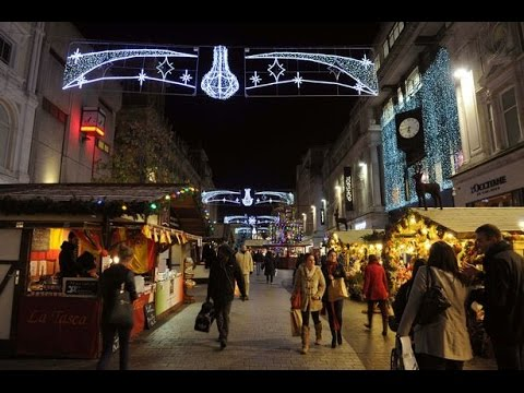 The Christmas Lights And Christmas Market Stalls In Liverpool Town Centre