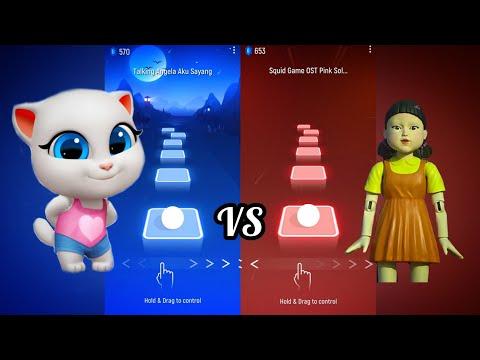 Talking Angela vs Squid Game - Tiles Hop EDM Rush