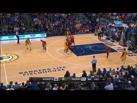 Motiejunas fakes out Roy Hibbert, finishes with a Scola scoop