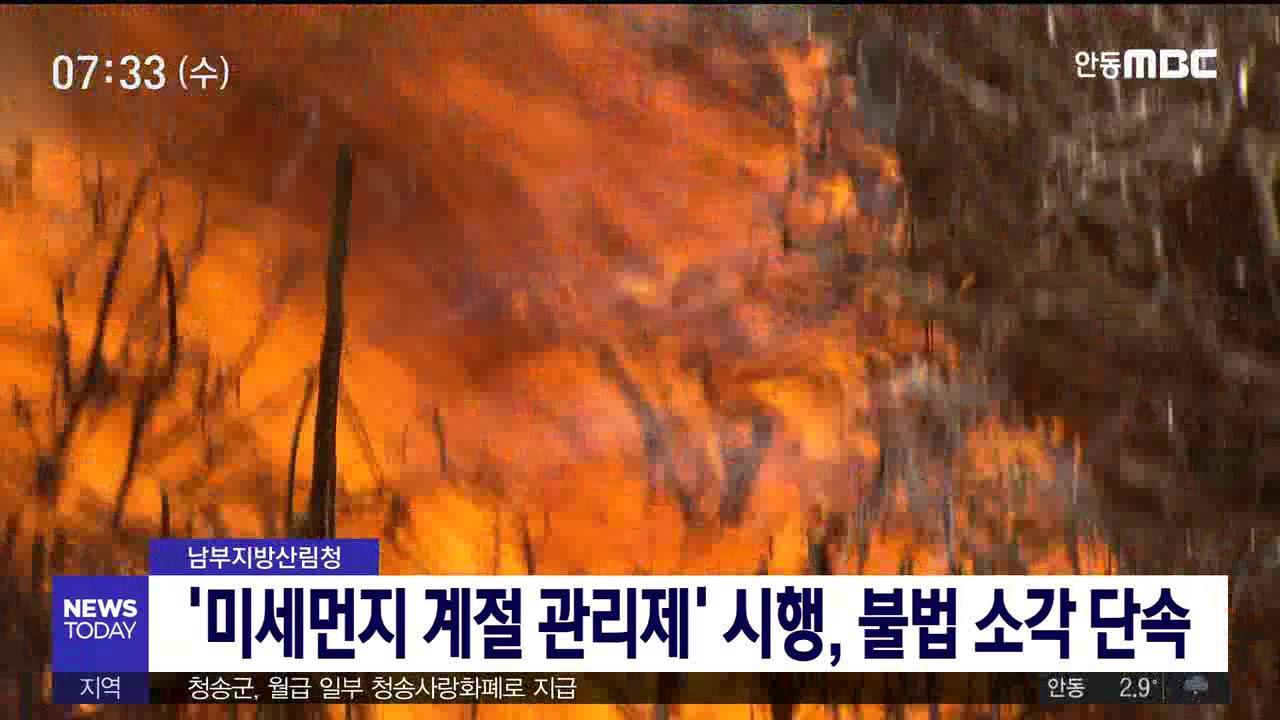 산림청 '미세먼지 계절관리제' 시행, 불법 소각 단속
