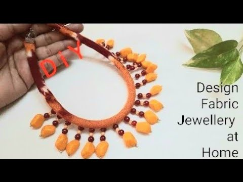 How To Make Fabric Rope Necklace With Beads Hangings | Fabric Necklace Ideas | Jewellery Making